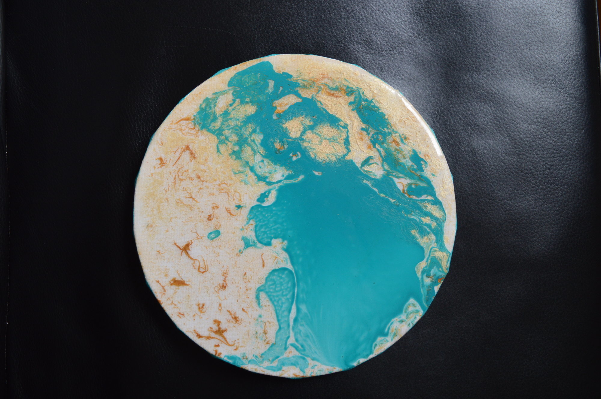 Resine ronde turquoise or